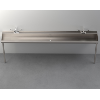 "Two-Station Trough Sink (102"" wide maintains social distancing)"
