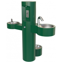 Pedestal Mounted Bottle Filler with Drinking Fountain and Washing Station